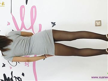 Asian girl dance in pantyhose miniskirt and heels 6